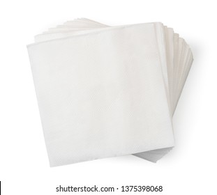 Pile of napkins on a white. The form of the top.