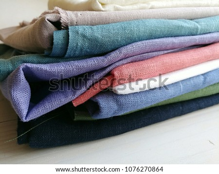 2e58312be92 Pile Natural Colorful Linen Fabrics Handmade Stock Photo (Edit Now ...