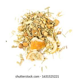 pile of natural herbal tea mix contains lemon grass, echinacea, pineapple, lemon peel and candied lemon, apple, marigold petals