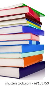 pile of new books isolated on white background