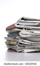pile of newspaper with white background