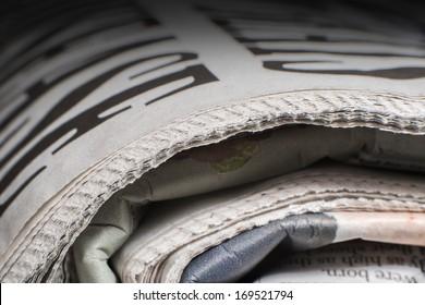 Pile of newspapers close up macro shot