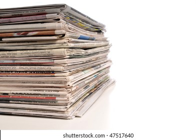 Pile of Newspapers isolated on a white background