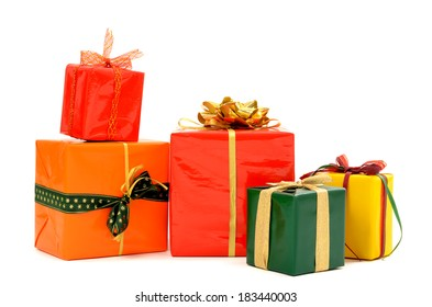 Pile of nicely wrapped presents. Christmas gifts isolated on white.