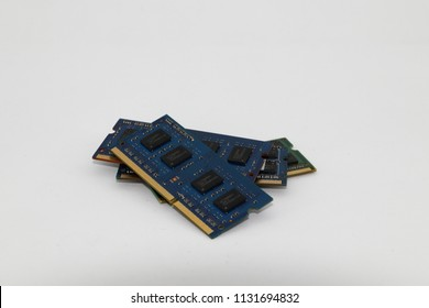 pile of Notebook or tablet DDR3 RAM memory module isolated on white background