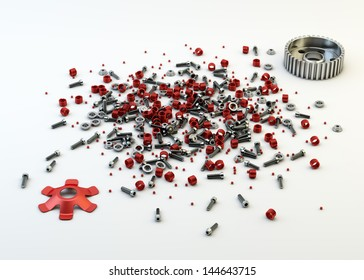 Pile of nuts and bolts from disassembled clutch isolated on white