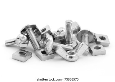 Pile of nuts and bolts isolated on a white background