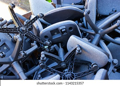A pile of office chairs. Take a seat, office business closure concept, bankrupt