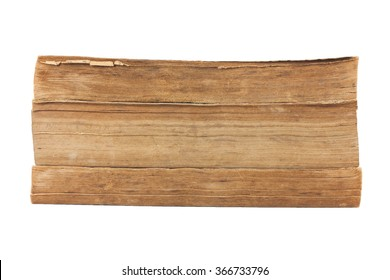 Pile of old books isolated on white background.