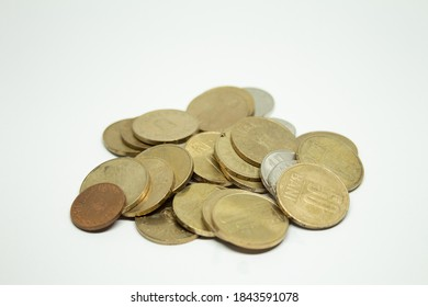 Pile of old coins copper and brass on white background. Romanian coins