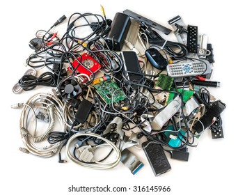 Pile of Old Computer Cables and Devices Isolated on White Background