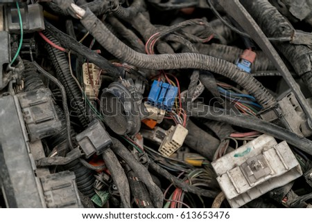 pile of old electrical wires, dusty and non-working, supply and data