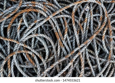 Pile of old frayed boat rope background