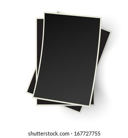 Pile of old photo frames isolated on white background. Raster version illustration.
