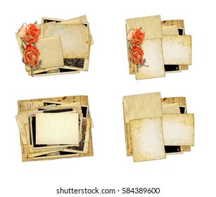 Pile of old photos and letters with bouquet of dried roses on white background isolated. Set