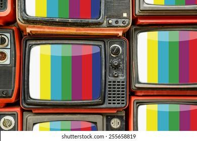 Pile of old retro TV