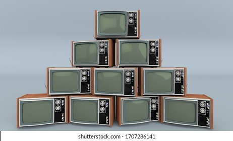 Pile of old retro TVS