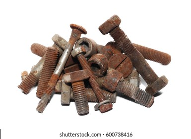 Pile of old rusty screw heads, bolts, metal nuts, isolated on white background