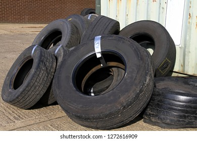 Pile of old tires in a junkyard
