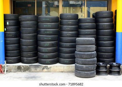 Pile of old tires and wheels for rubber