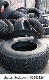 A pile of old used tires