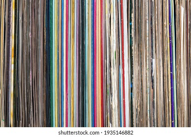 a pile of old vinyl records