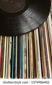 Pile of old vinyl records(analogue record)