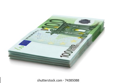 Pile of one hundred euro banknotes, isolated on the white background, clipping path included. Full focus.