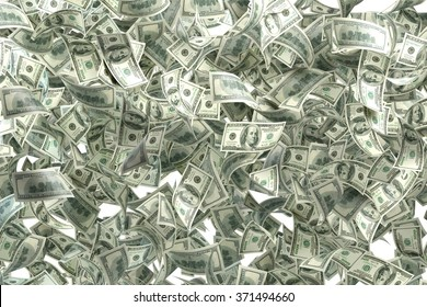 Pile of one hundred US dollar bills. Great use for money and finance related concepts. Isolated on white background. Clipping path is included.