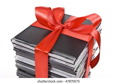 Pile of optical disc with red ribbon
