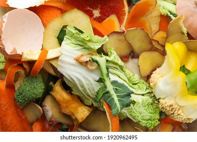 Pile of organic waste for composting as background, closeup