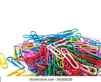 Pile paper clip on white background