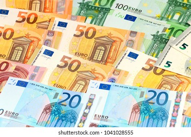 a pile of paper currency euro as an element of the European trading system