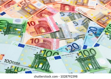 a pile of paper currency euro as part of the trading system