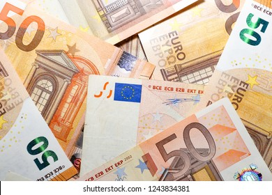 Pile of Paper Euro Banknotes as Background