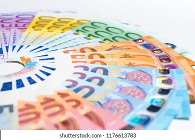 Pile of paper euro banknotes as part of the united country's payment system.