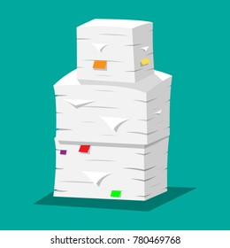 Pile of papers. Office documents heap. Routine, bureaucracy, paperwork, big data, office. illustration in flat style