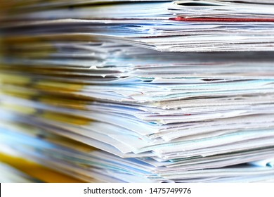 Pile of papers. Stack of business papers, bills or documents closeup. Debt free life, business office stress workload or paperless office concept.