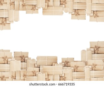 Pile of parcel boxes, isolated on white backgrounds