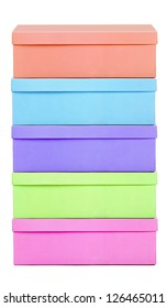 Pile of pastel shoe-boxes on white