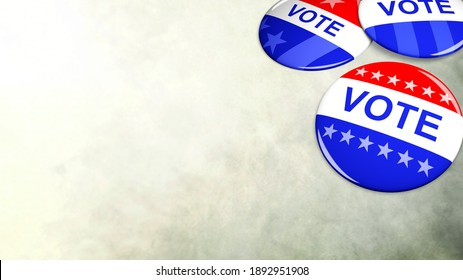 Pile of patriotic voting buttons, American presidential elections