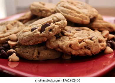 A pile of peanut butter and chocolate chip cookies