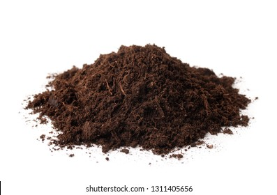 Pile of peat soil isolated on white