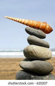 Pile of pebbles with spiral seashell on top