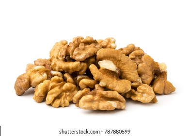 Pile of peeled walnuts, closeup.