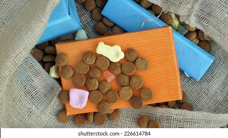 Pile of Pepernoten and presents, typical Dutch treat for Sinterklaas on 5 december