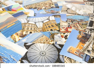 A pile of photographs arranged into a background