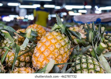 Pile of pineapples at the market