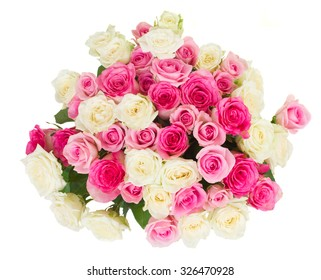 pile of  pink and white roses  isolated on white background