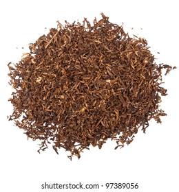 A pile of pipe tobacco isolated on white